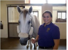 Graduate Student Gretchen Henry and a white horse